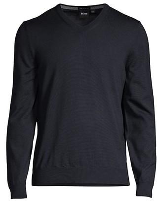 HUGO BOSS Virgin Wool V-Neck Sweater