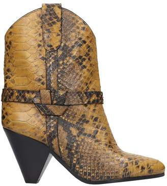 Isabel Marant Deane High Heels Ankle Boots In Yellow Leather