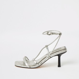 River Island Womens Silver metallic square toe midi heel sandals