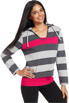 Style&Co. Sport Top, Long-Sleeve Striped Hooded Layered-Look