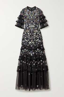 Needle & Thread Meadow Ruffled Crochet-trimmed Sequined Tulle Gown - Black