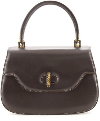 Gucci Vintage Top Handle Flap Bag Leather with Chain Detail Small