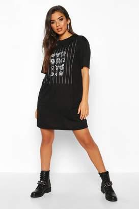 boohoo Diamante Overlay Printed T-Shirt Dress