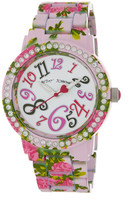 Betsey Johnson Women's Crystal Accented Floral Print Bracelet Watch