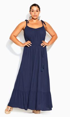 City Chic Tropical Escape Maxi Dress - navy