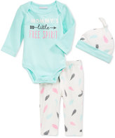 First Impressions 3-Pc. Feather-Print Hat, Bodysuit & Pants Set, Baby Girls' Only at Macy's