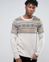 Pull&Bear Fair Isle Sweater In Oatmeal