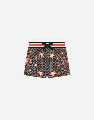 Dolce & Gabbana Jersey Jogging Shorts With Tiger And Star Print