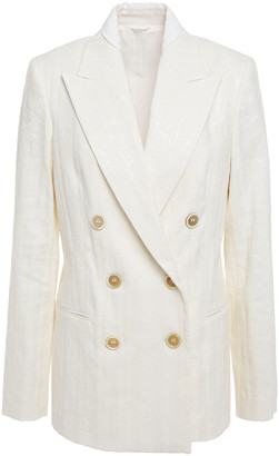 Brunello Cucinelli Double-breasted Embellished Herringbone Cotton-blend Blazer