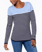 Karen Scott Button-Shoulder Striped Sweater, Created for Macy's