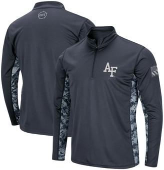 Colosseum Men's Charcoal Air Force Falcons OHT Military Appreciation Digital Camo Quarter-Zip Pullover Jacket