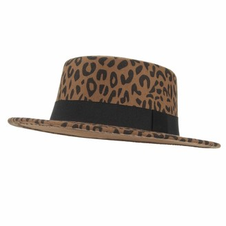 GEMVIE Women Wool Boater Bowler Hat Wide Brim Leopard Print Flat Top Fedora Panama Wool Hat with Ribbon Band Brown 2