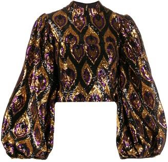 Giuseppe Di Morabito sequinned bell sleeve blouse