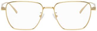 Bottega Veneta Gold Square Metal Glasses