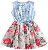 TRURENDI Girls Princess Summer Beach Flower Denim Jeans Bow One-piece Dress