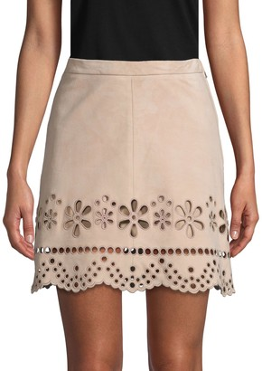 RED Valentino Laser-Cut Suede Mini Skirt