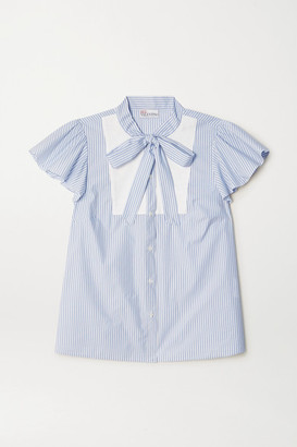 RED Valentino Pussy-bow Paneled Striped Cotton-blend Poplin Blouse - Light blue