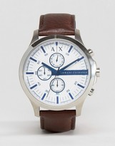 Armani Exchange Chronograph Leather Watch In Brown AX2190