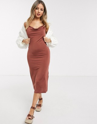 Pieces cowl neck midi slip dress