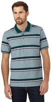 Maine New England Big And Tall Green Striped Print Tailored Fit Polo Shirt