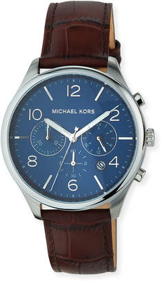 MICHAEL Michael Kors 42mm Merrick Chronograph Watch w/ Leather Strap, Brown/Blue