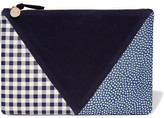 Clare Vivier Patchwork Printed Leather And Suede Clutch - Blue