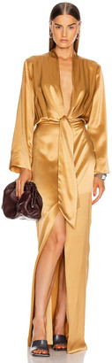 Mason by Michelle Mason for FWRD Kimono Tie Gown in Honey | FWRD