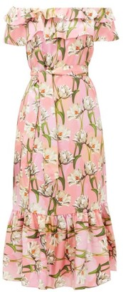 Borgo de Nor Agata Floral-print Silk-satin Midi Dress - Pink Multi
