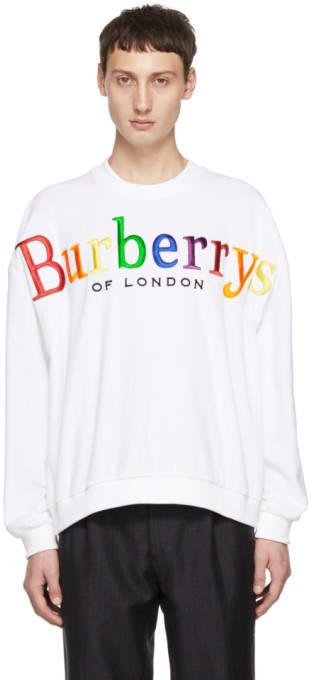 Burberry White Towelling Sweatshirt