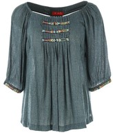 Rene Derhy Embroidered Blouse with 3/4 Length Sleeves