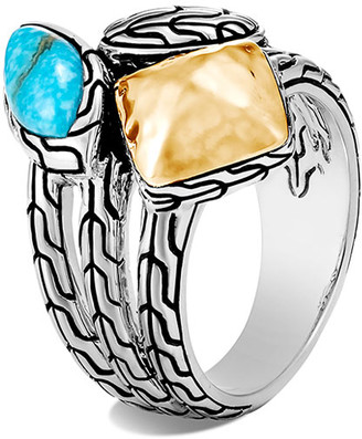 John Hardy Classic Chain Turquoise and 18k Gold Ring, Size 7