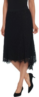 Isaac Mizrahi Live! Hi-Low Hem Lace Midi Skirt