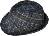 Simplicity Unisex Pinstripe Band Fedora Formal Hat, Brown/Beige