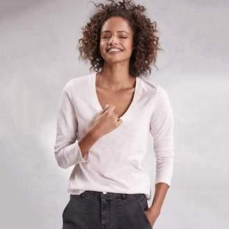 The White Company Cotton Long Sleeve Rib-Neck T-Shirt, Powder Pink, 8