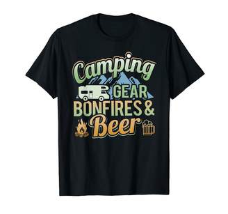 Camper Camping Family Adam And Marky Funny Camping Outdoors Bonfires Drinking Beer For A T-Shirt