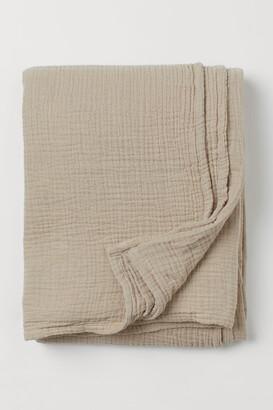 H&M Cotton Muslin Bedspread - Beige