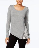 Kensie Lace-Trim Sweater