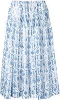 Jil Sander Navy floral print skirt - women - Cotton - 34