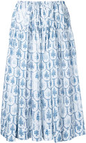 Jil Sander Navy floral print skirt - women - Cotton - 42