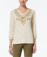 Alfred Dunner Cactus Ranch Collection Embroidered Beaded Top