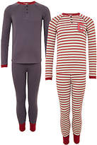 John Lewis Children's Striped Pyjamas, Pack of 2, Grey/Red