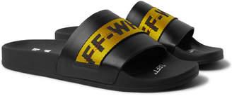 Off-White Logo Webbing-Trimmed Leather Slides