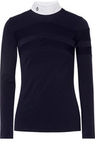 Cavalleria Toscana Technical Show Poplin-trimmed Stretch-jersey Top - Midnight blue