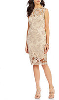 Tadashi Shoji Bateau Neck Sleeveless Metallic Lace Illusion Sheath Dress