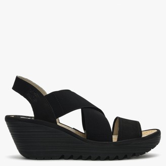 Fly London Yaji Black Leather Elasticated Cross Strap Wedge Sandals