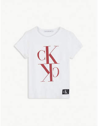 Calvin Klein Jeans Monogram logo cotton cropped T-shirt 4-16 years