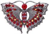 Ever Faith Black-Tone Full Austrian Crystal Sparkling Butterfly Brooch Red N07483-4