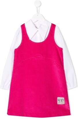No21 Kids Corduroy Pinafore Shirt Dress