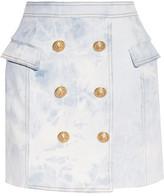 Balmain Wrap-effect Acid-wash Stretch-denim Mini Skirt - Light denim