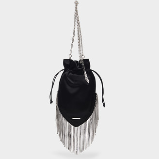Les Petits Joueurs Fingy Clutch In Black Satin With Crystals